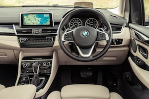 Steering wheel and dashboard of BMW 218i Active Tourer