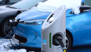 Renault ZOE EV charging in snow