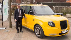 Andy Burnham at the LowCVP Moving North Conference with LEVC Electric Taxi