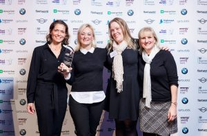 Smarter Travel Hero - L-R Amanda Stretton, Andrea Booth and Maria Stringer (Royal Derby Hospital), Emma Forster (GMP Drivecare)