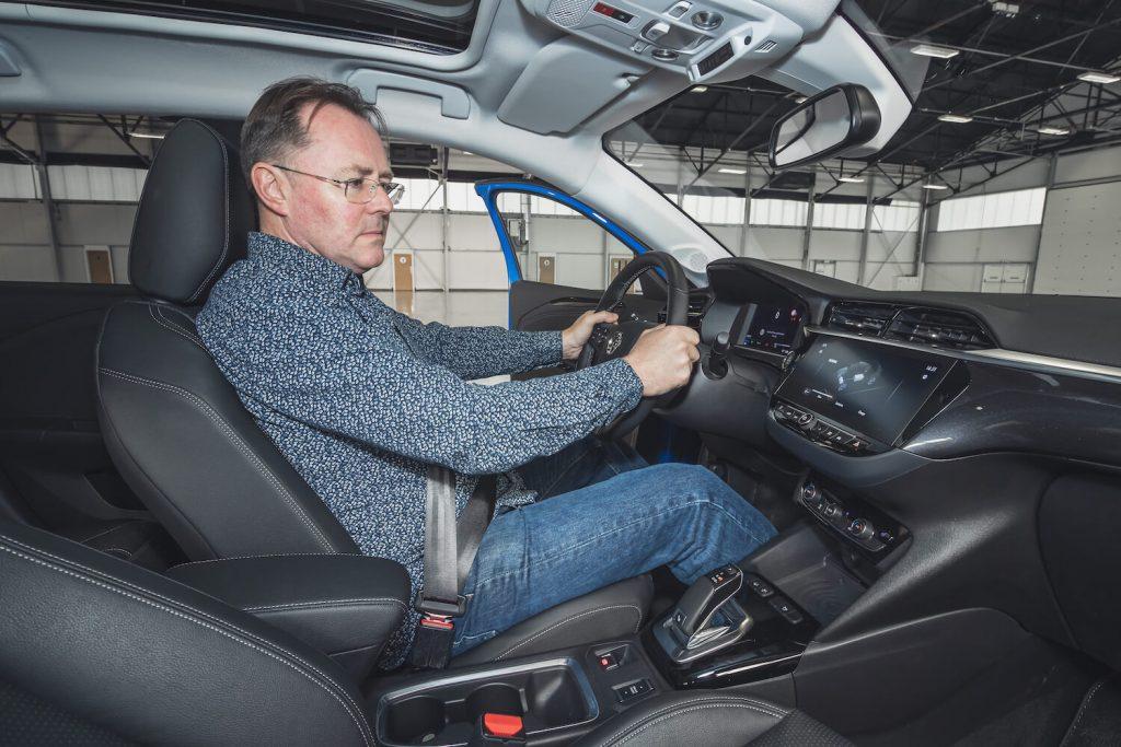 Paul Clarke with Vauxhall Corsa-e interior