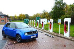 Honda e charging 005 Tesla Superchargers low res