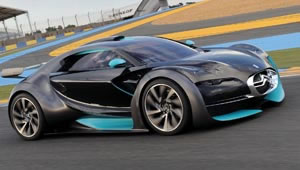 A Citroen Survolt all-electric racing car concept being tested on the track