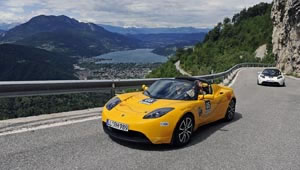 A Tesla Roadster makes its way through the mountains during the E-Miglia 2010