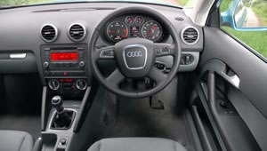 View of the A3 dashboard from the driver's seat