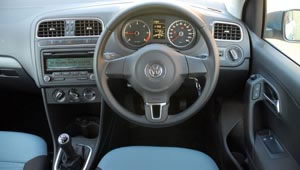 View of the VW Polo's dashboard from the driver's seat