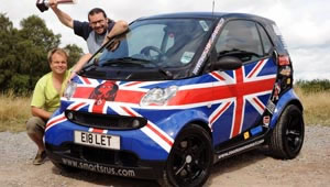 David Ward and Adrian Hull pose alongside their Cannonball Run winning smart fortwo BRABUS