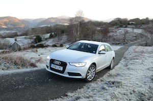 Audi A6 Avant 2.0 TDI driven in icy roads