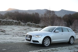 Audi A6 driven in icy roads