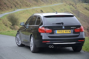 BMW 330d Touring driven in the mountains