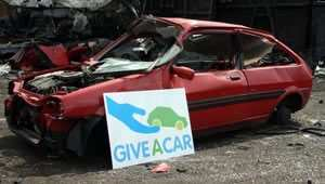 A scrapped car at Giveacar awaits its fate