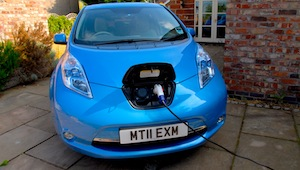 A Nissan LEAF electric car charging up
