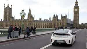 A Vauxhall Ampera nears the finish on the RAC Brighton to London Future Car Challenge
