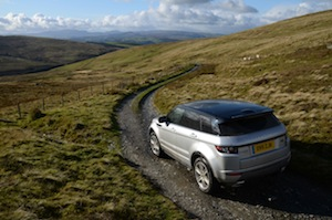 Our test model Evoque on its road text in the rugged Welsh countryside
