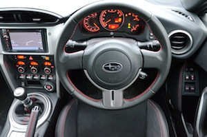 Subaru BRZ dashboard and steering wheel