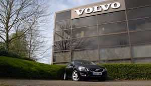 Our Volvo V60 DRIVe estate outside Volvo's headquarters in Marlow